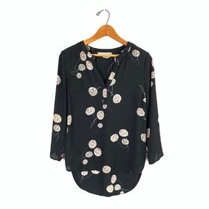 DANIEL RAINN L/S Floral V-Neck Hi-Lo Blouse Top